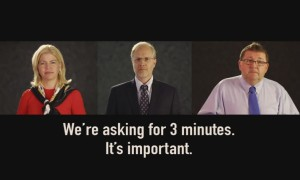 Photos of three Corporate leaders: We're asking for 3 minutes.  It's important.