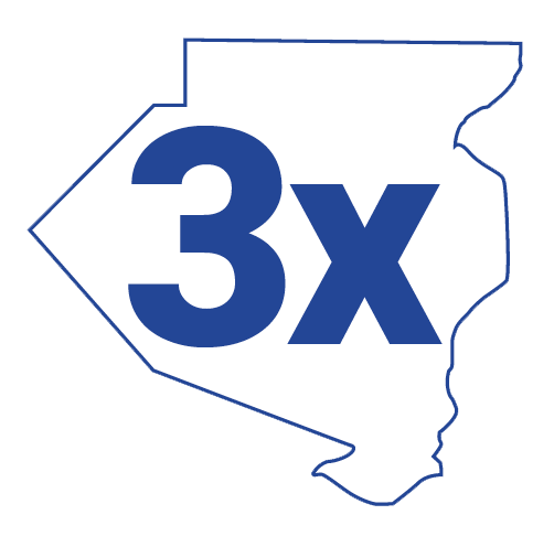 infographic showing the number 3x superimposed over Allegheny county