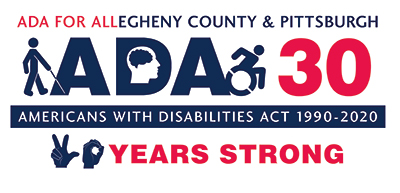 Americans with Disabilities Act logo in red, white and blue with the tagline 30 years strong. Icons of various disability access symbols are integrated into the design