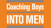 Coaching Boys Into Men logo, white text on orange backgound
