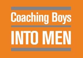 Coaching Boys Into Men logo, white text on orange backgound