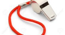 silver whistle with red wrist cord, used by athletic coaches