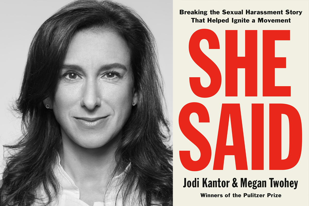 photo of Jodi Kantor, a white woman with long dark hair, and the book cover for SHE SAID, the book she co-authored
