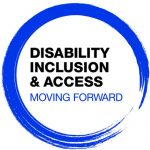 Logo with circular paint brushstroke in blue with Disability Inclusion & Access: Moving Forward in the center of the circle