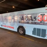 Port Authority Bus wrapped with ADA 30 logo