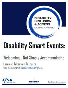 cover of Disability Smart Events learning takeaway from Disability Inclusion & Access