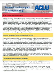 cover of ACLU Research on School Policing report