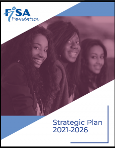 FISA Foundation Strategic Plan 2021-2026, includes photo of three smiling young Black women