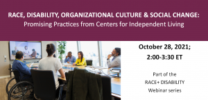Race, Disability, Organizational Culture and Social Change: Best Practices from Centers for Independent Living. Webinar on October 28, 2021, 2-3:30pm ET. Part of the Race and Disability series